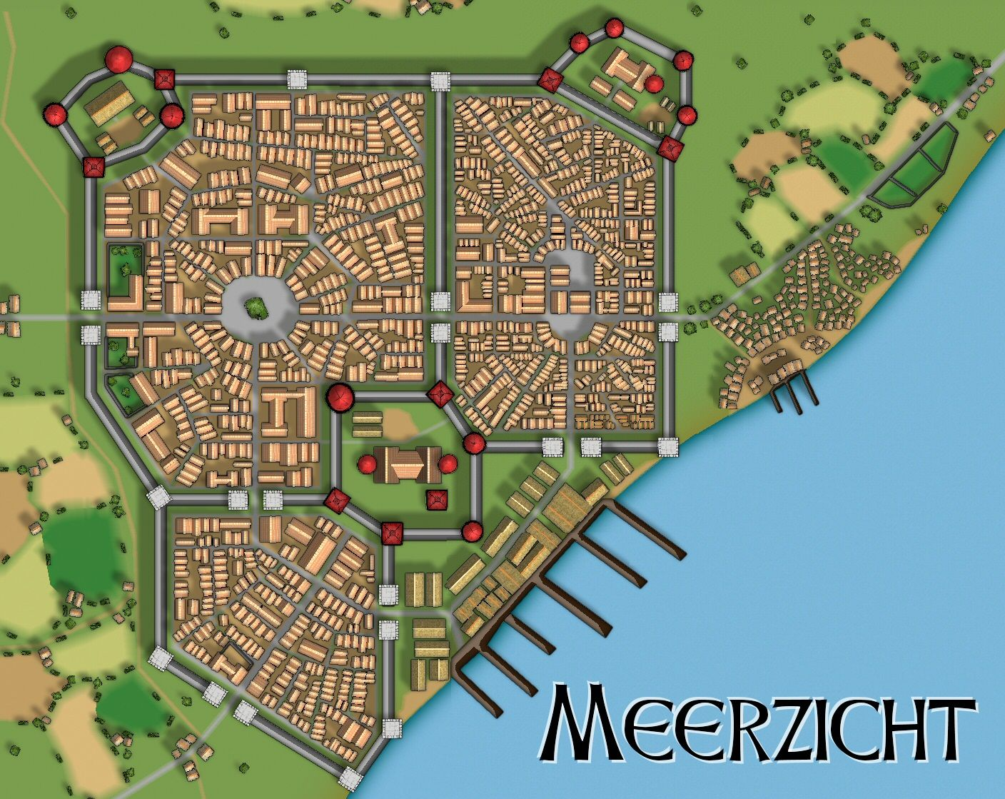 Minecraft Medieval City Layout