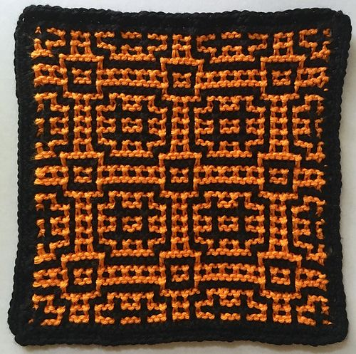 This is an easy mosaic knit dishcloth pattern that could easily be altered to make additional projects such as coasters, place mats and pillows. Two of these dishcloths knit in inverse colors would make an excellent gift! Use a stiff cotton for use on those stubborn dishes or a softer yarn for the perfect spa accessory.