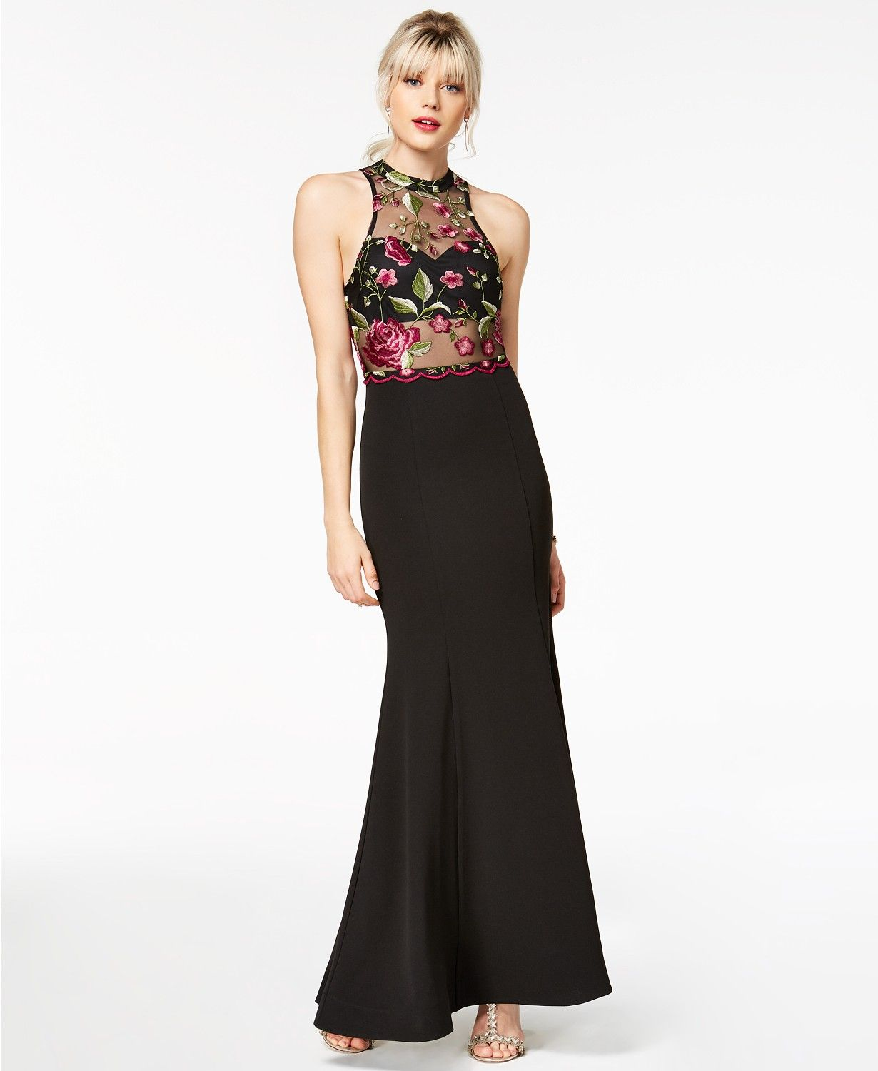 Sequin Hearts Juniors\' Embroidered Mesh Crepe Gown | macys.com ...