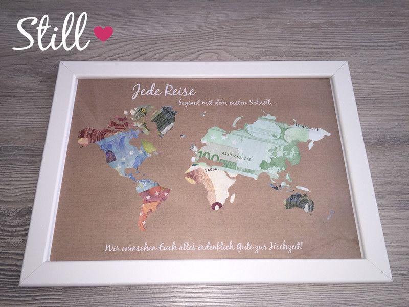 Geldgeschenk Weltkarte Vintage mit Rahmen  Weltkarte