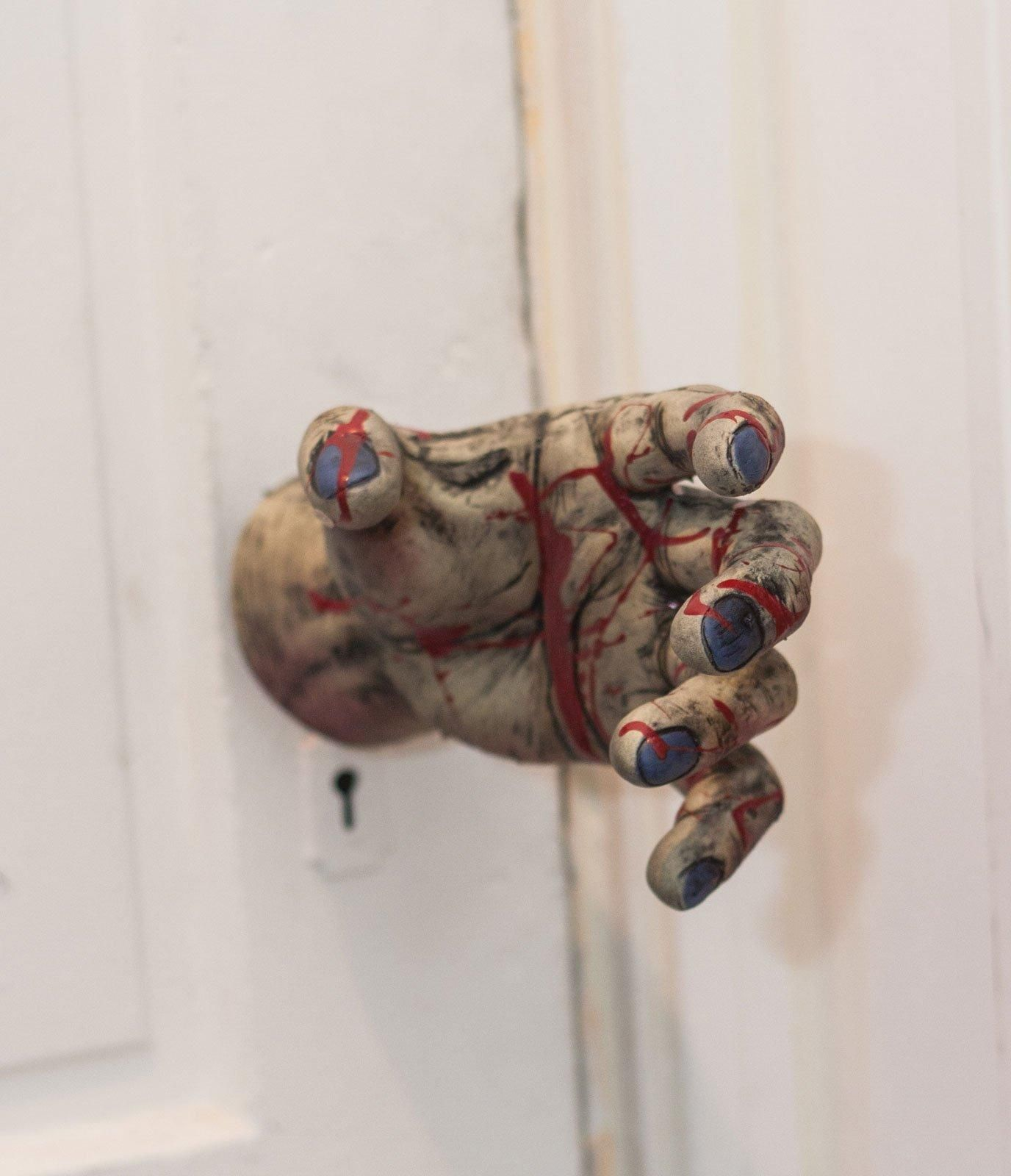 Spooky Door Knob Cover Zombie Hand from CostumeExpress Fright - Scary Door Decorations For Halloween