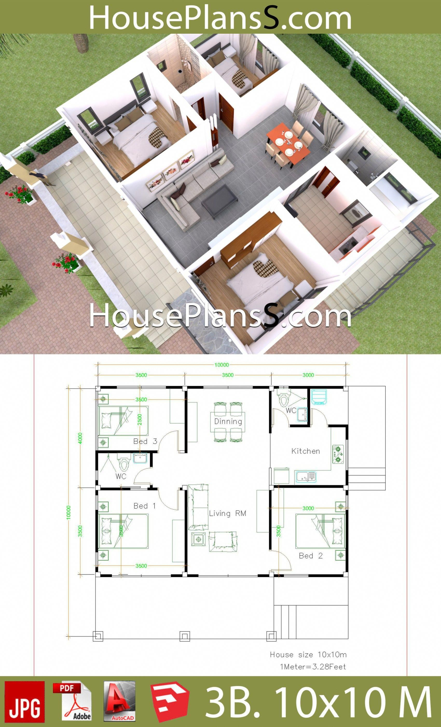 House Design Plans 10x10 With 3 Bedrooms Full Interior House Plans Sam Aframeinterior Small House Design Plans Simple House Design Small House Blueprints