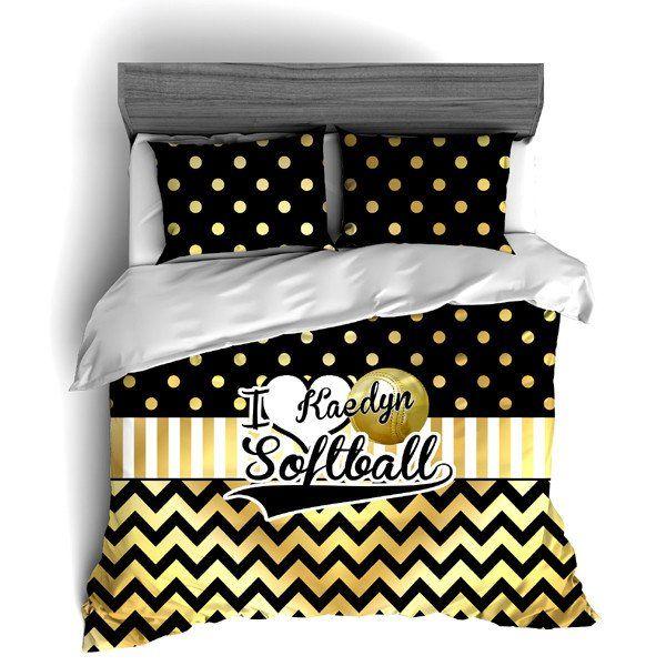 I Love Softball Themed Bedding Gold Polka Dots And Chevron Duvet Or Comforter Sets Softball Bedroom Comforter Sets Chevron Bedding
