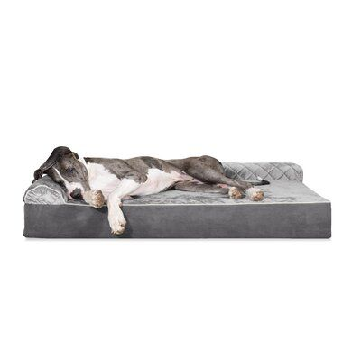 Tucker Murphy Pet Griego Quilted L Chaise Lounge Dog Bed Sofa Size Extra Extra Large 11 H X 60 W X 48 D Colour Grey Couch Pet Bed Dog Sofa Bed Dog