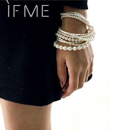 New Bohemian Bead Imitation Pearl Multilayer Charm Bracelet Statement Jewelry