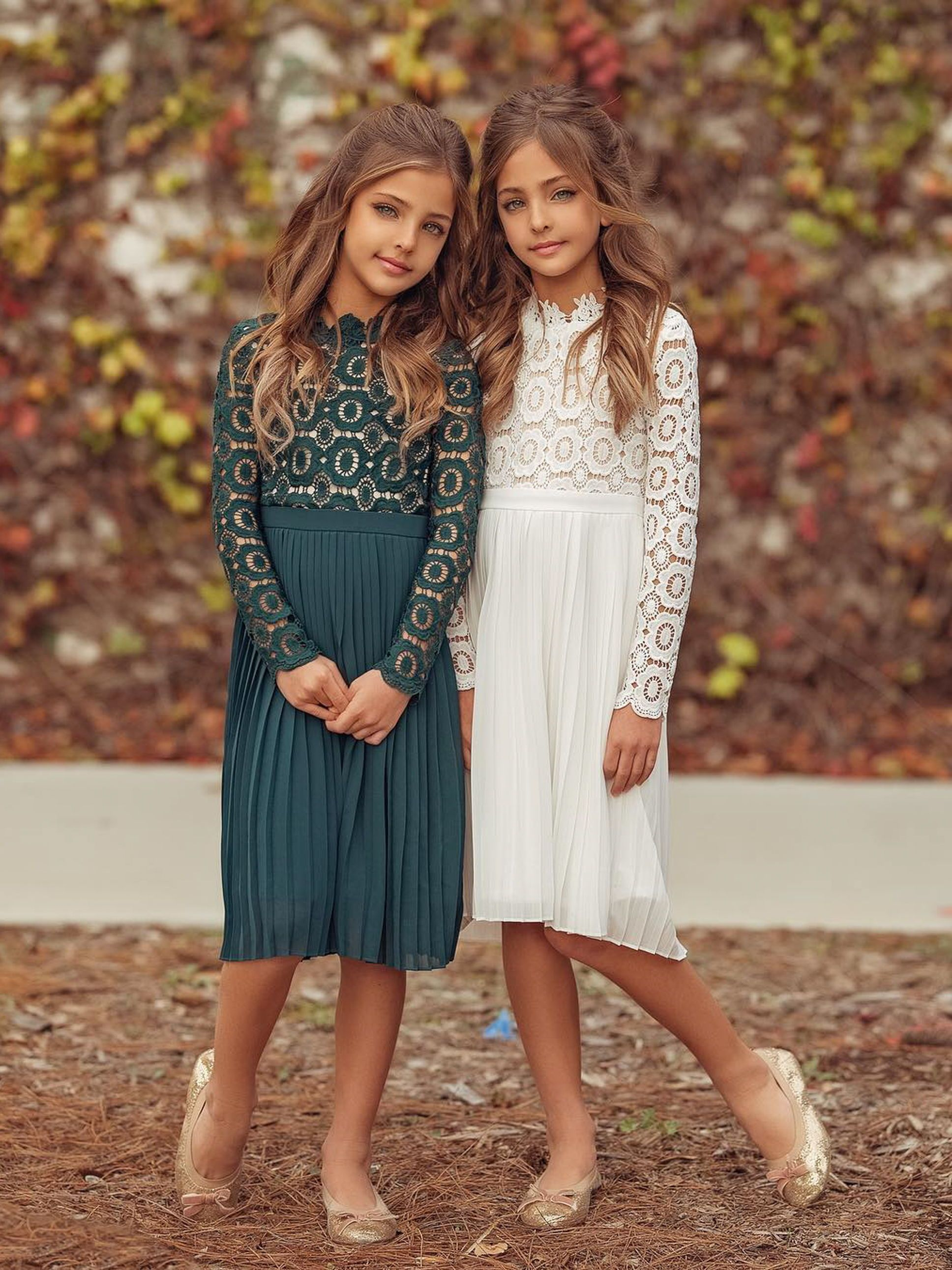 Modest Dresses For Girls Pre Teens And Teens Long Sleeve Lace Dress In White Iand Green By Ivy City Co Clement Twin Modest Dresses Girl Fashion Girls Dresses