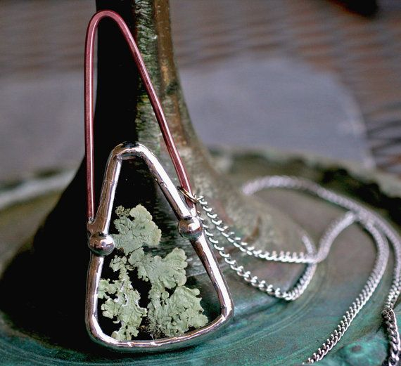 terrarium necklace real lichen jewelry modern boho necklace pendant copper patina modern necklace drop silver deco natural real LICHEN DROP