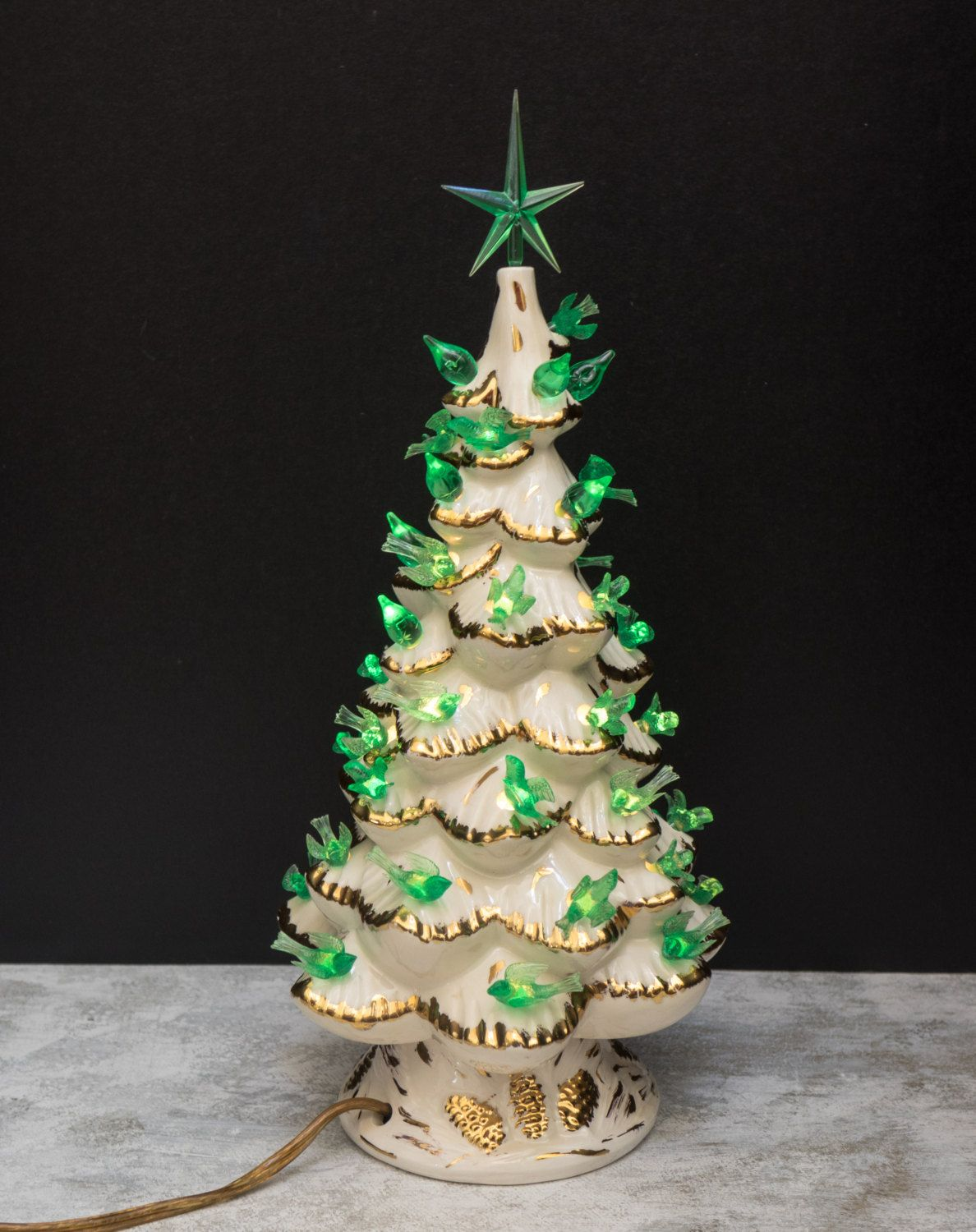 Christmas Tree Lighted White And Gold Ceramic Bird Bulbs 12 Inch Tabletop Lamp Signed 1978 Arnel S Mold 1973 C Christmas Tree Decorations Tree Decorations