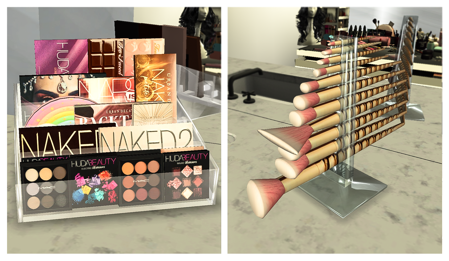 Mobel Ebonix Eyeshadow Palette Holder And Makeup Brush Holder Brush Ebonix Eyeshadow Holder Lips Fillers Lip In 2020 Sims 4 Cc Furniture Sims 4 Bedroom Sims 4
