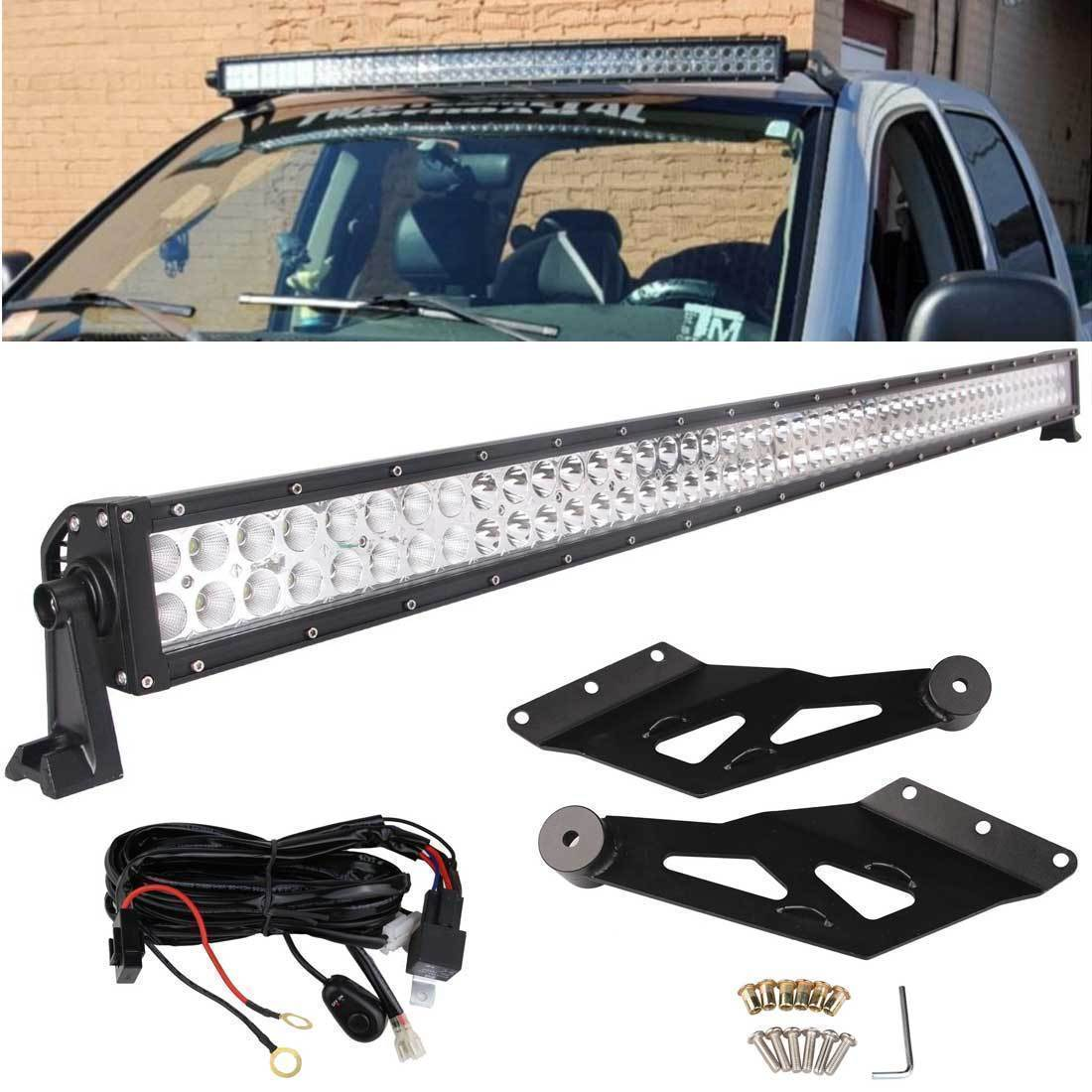 50inch curved off road 288w cree led light bar chevy gmc 99 06 relay bracket [ 1100 x 1100 Pixel ]