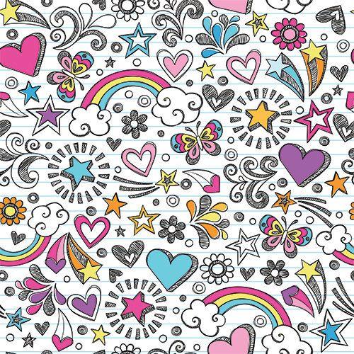 Girly Notebook Drawings Peel and Stick Wallpaper Peel
