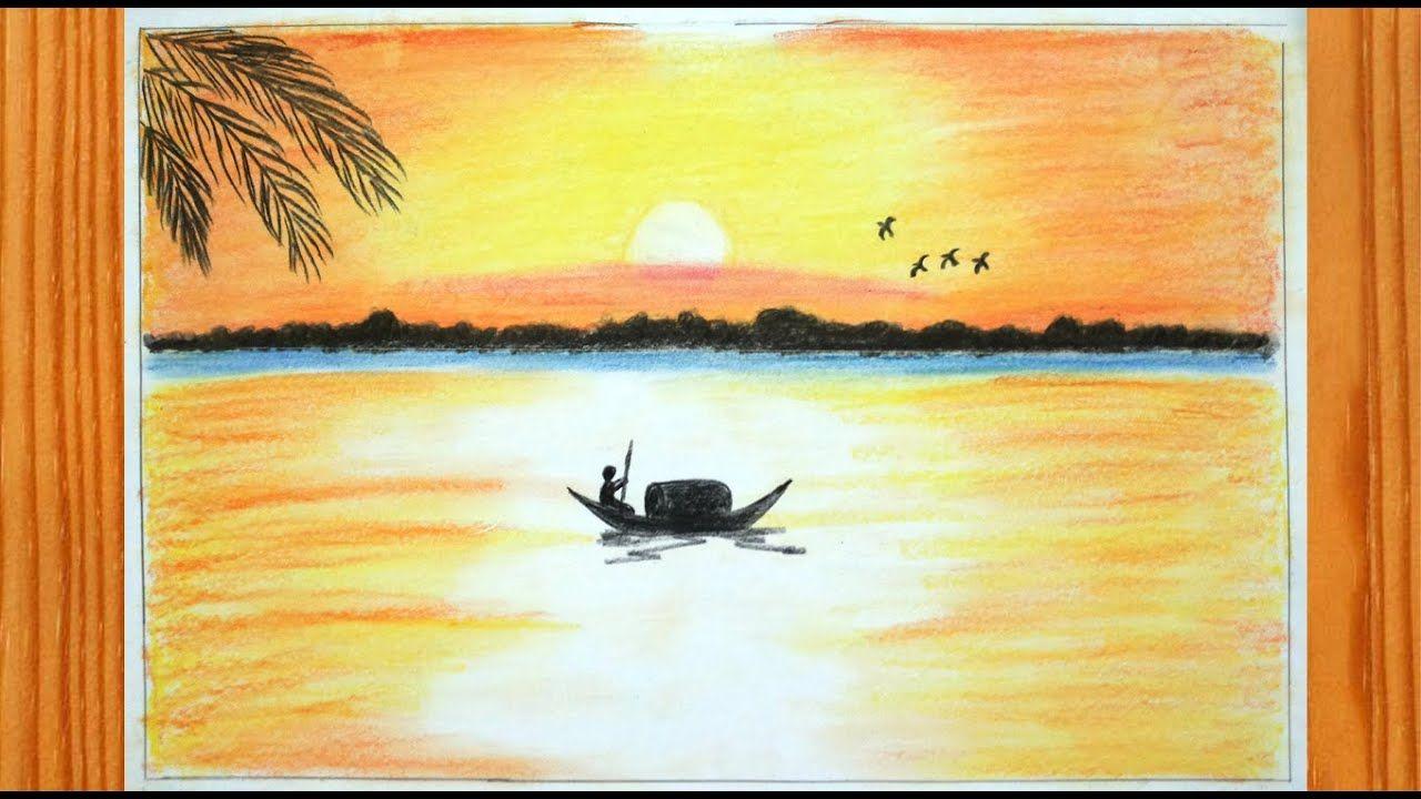 كيفية رسم منظر الغروب كيفية رسم غروب الشمس على البحر بالالوان الخشبية كيفية رسم غروب الشمس على البحر كيفية رسم غروب الش Drawing For Kids Drawings Painting