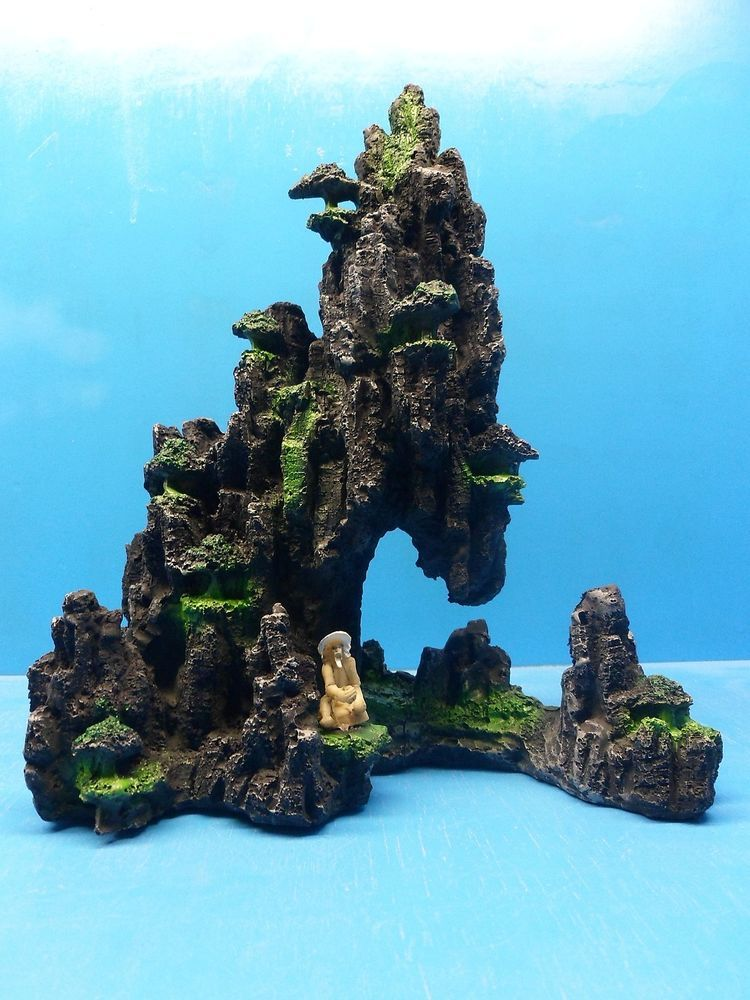Mountain rock sa111b large zen aquarium ornament resin ...
