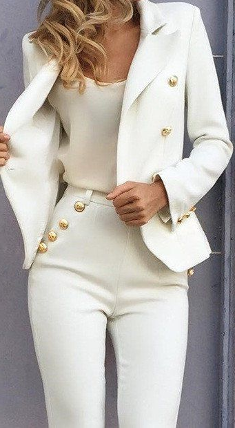 Balmania Stand Out White Blazer Gold Buttons .... cute outfit! | Everything White... in 2019 | Fashion, Women, Outfits