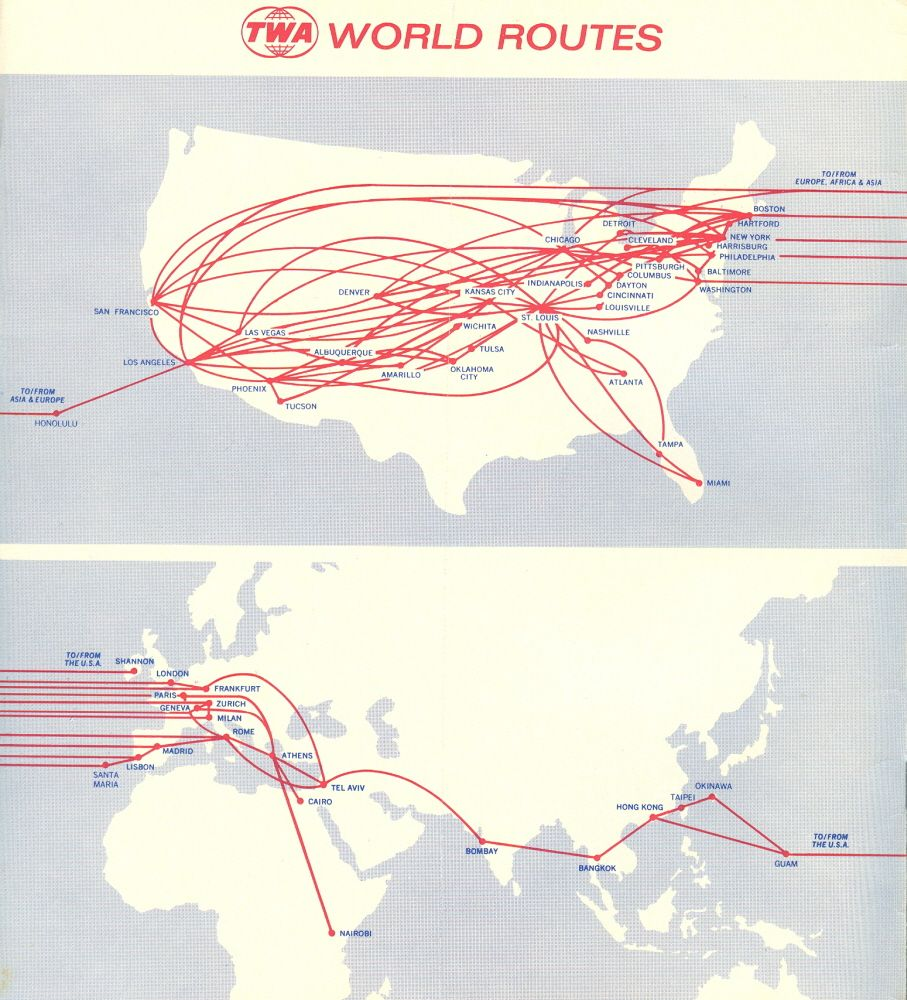 TWA Route Map 1972. | Flight map, Penger aircraft ... on central airlines route map, air niugini route map, iberia route map, twa route map, national airlines route map, eastern air lines route map, horizon air route map, republic airlines route map, delta air lines route map, aeroperu route map, american airlines route map, skywest airlines route map, air south route map, luxair route map, great northern route map, compass airlines route map, british airways route map, alaska airlines route map, germanwings route map, aeroflot route map,