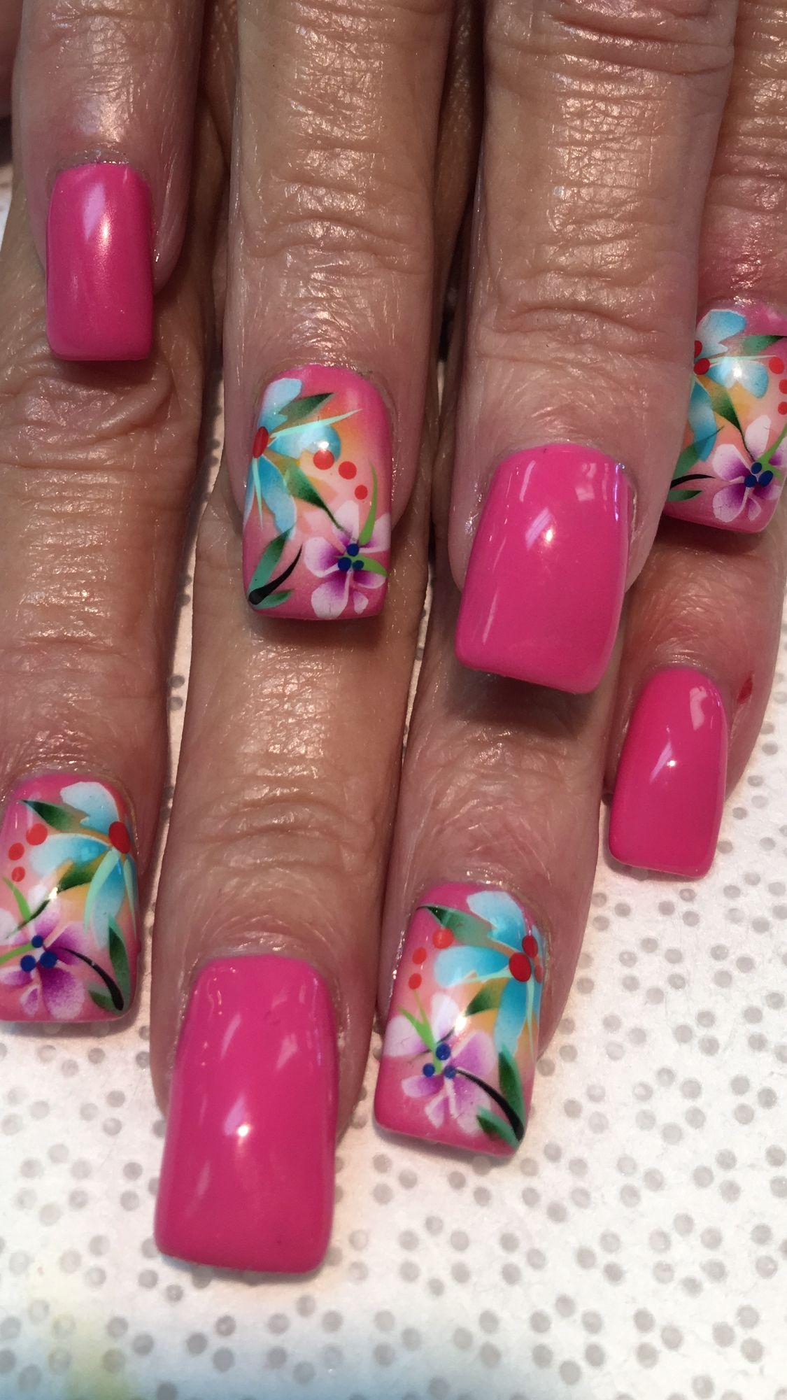 Tropical Airbrush Design | ~Nails~ | Pinterest | Nagelschere