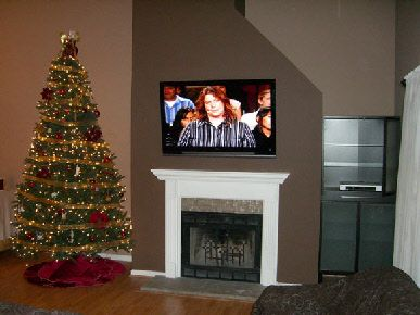 tv+over+fireplace | Flat panel TV installation over fireplace is ...