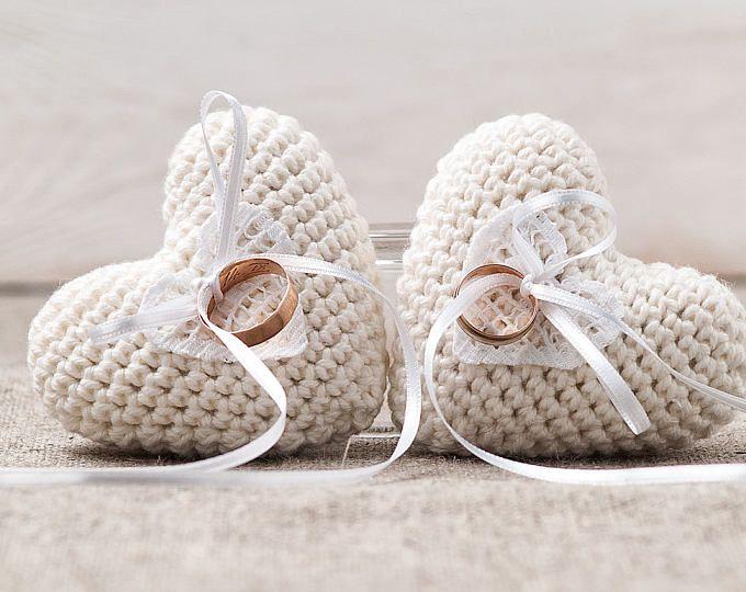 Pink Wedding Ring Pillow, Heart Ring Bearer, Crochet Ring Pillow ...