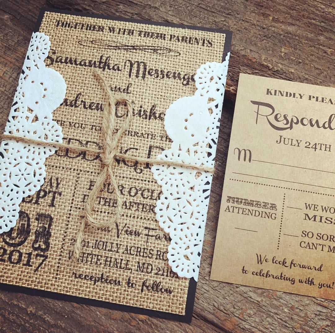 Burlap Wedding Invitation Set,Rustic Wedding Invitation,Vintage ...