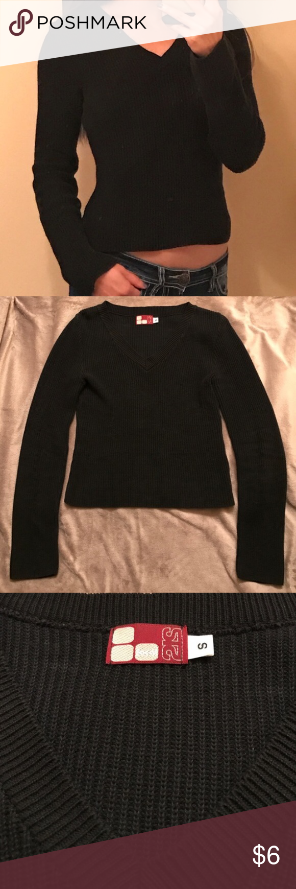Ribbed V-Neck Sweater 100% cotton knit sweater in good used condition.  Purchased from Alloy.  Price is firm unless bundled. ALLOY Sweaters V-Necks