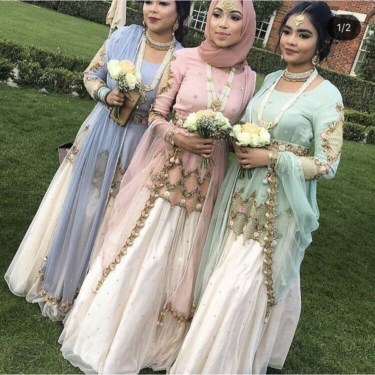 Same Dress Different Colour Desi Wedding Dresses Wedding Outfit Indian Bridesmaids,Below The Knee Dresses For Wedding Guests