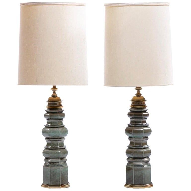 Pair Of Stiffel Green Crackle Glazed Ceramic Pagoda Style Tall Lamps Circa 1960 In 2021 Tall Lamps Lamp Simple Lamp
