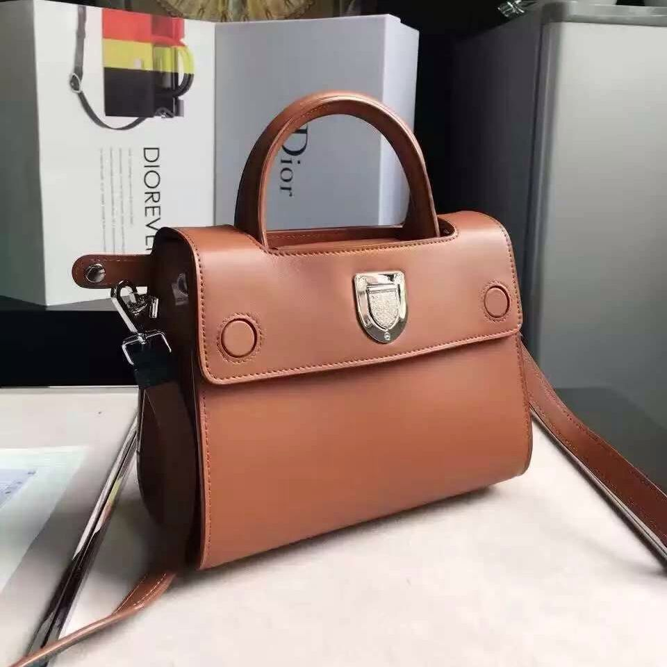 Dior Mini Diorever Bag In Smooth Calf Leather and Suede Leather Brown 2016 ddb2595edb689