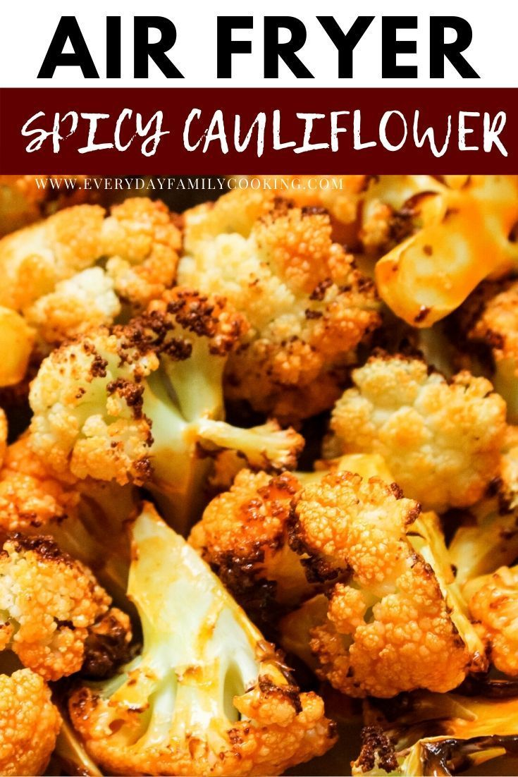 Easy and spicy buffalo cauliflower florets that contain no breading and are completely gluten-free and keto. This air fryer veggie is best paired with blue cheese for a delicious side dish. #airfryer #cauliflower #ketocooking