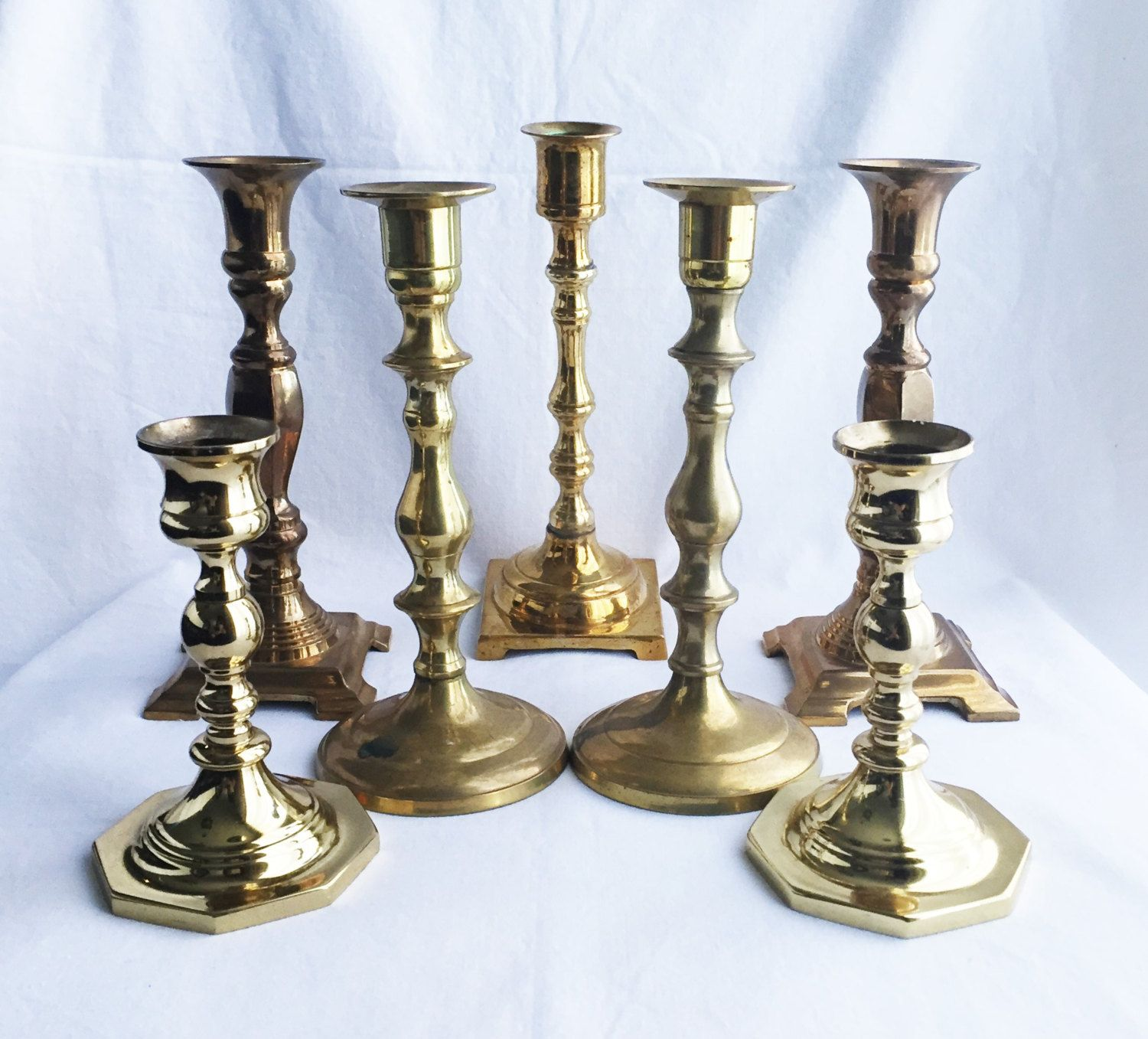 Brass candlesticks vintage candle holders