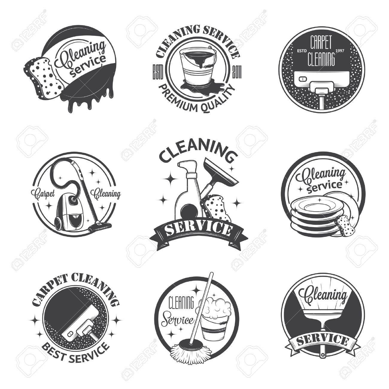 Set Of Vintage Logos Labels And Badges Cleaning Services Cleaning Company Logo Vintage Logo Cleaning Service