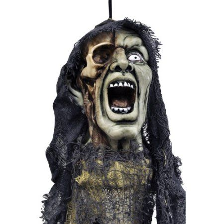 20 inch Hanging Head with Open Mouth Halloween Accessory, Multicolor