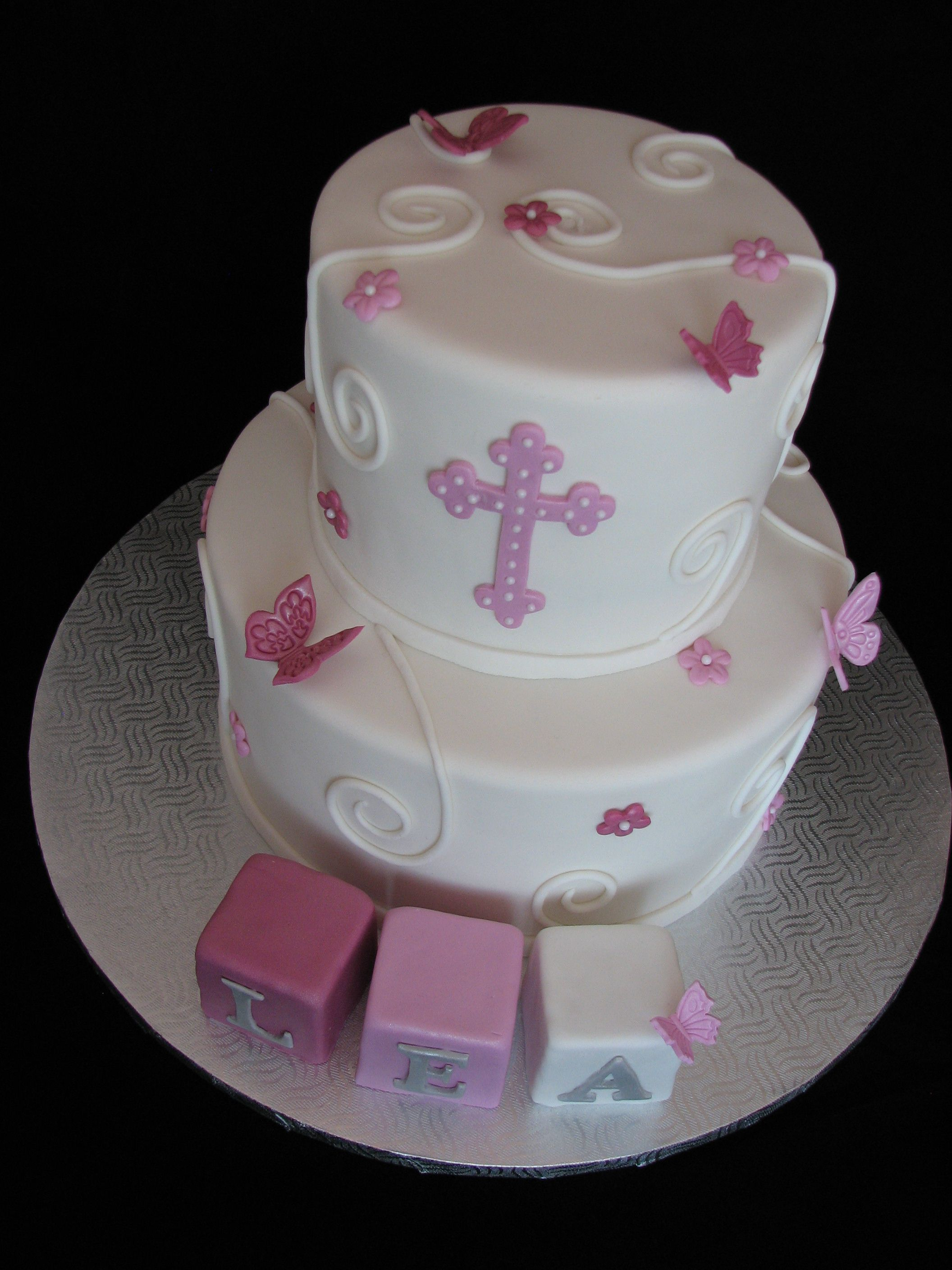 Cake g teau bapt me baptism christening fille girl papillon butterfly cake cake christening - Decoration gateau bapteme fille ...