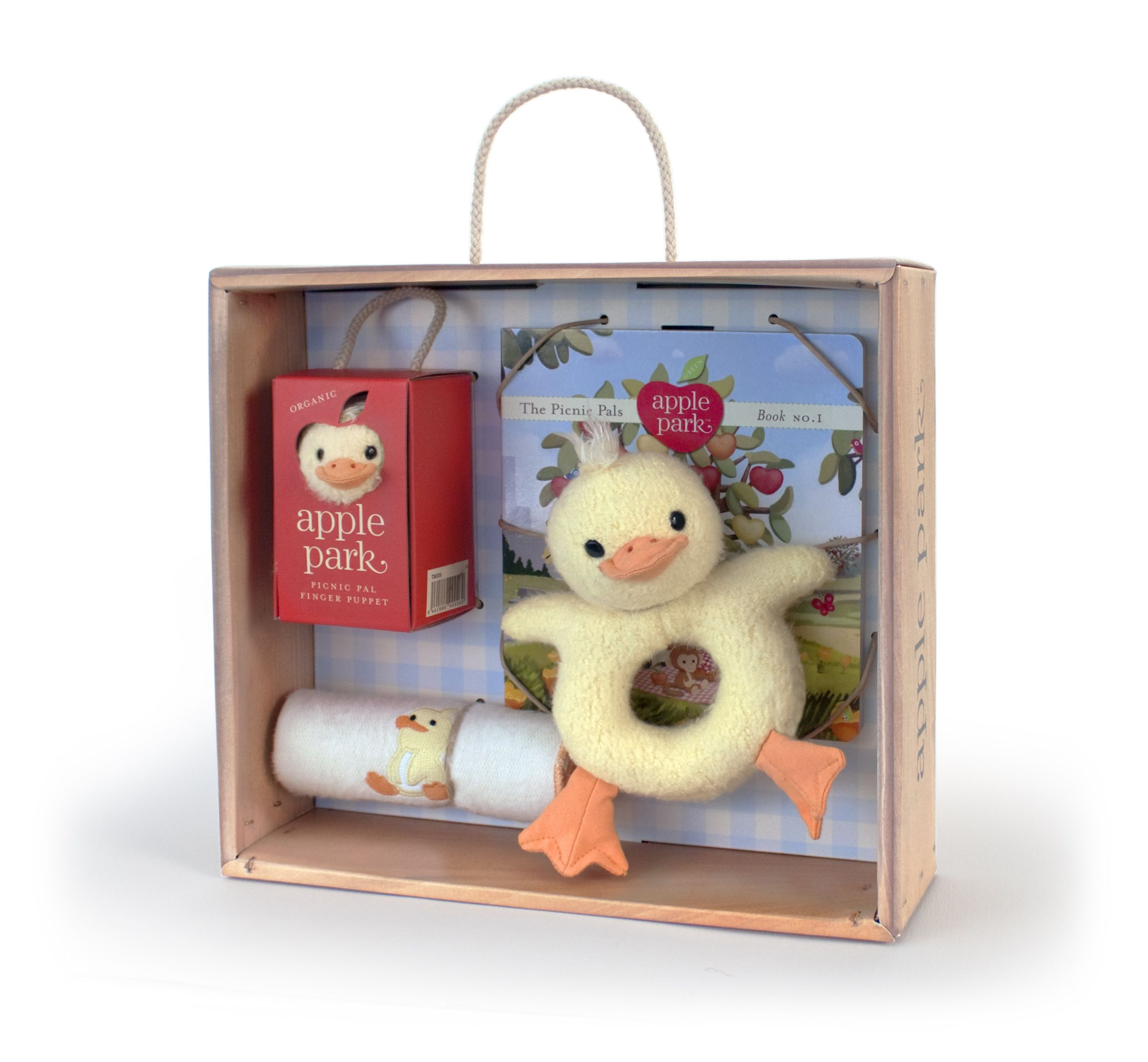 I think easter when looking at this sunny yellow duckie gift this baby gift crate makes the perfect gift each crate contains the apple park picnic pals book a picnic pal soft teething toy organic cotton baby cloth negle Choice Image