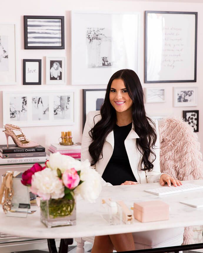 21 Feminine Home Office Designs Decorating Ideas: See How Rachel Parcell's 'Pink Peonies' Brand Inspired One Dreamy Office