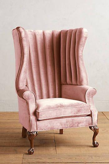 Velvet English Fireside Chair | Sillones, Sofá chaise y Rosa rosa rosa