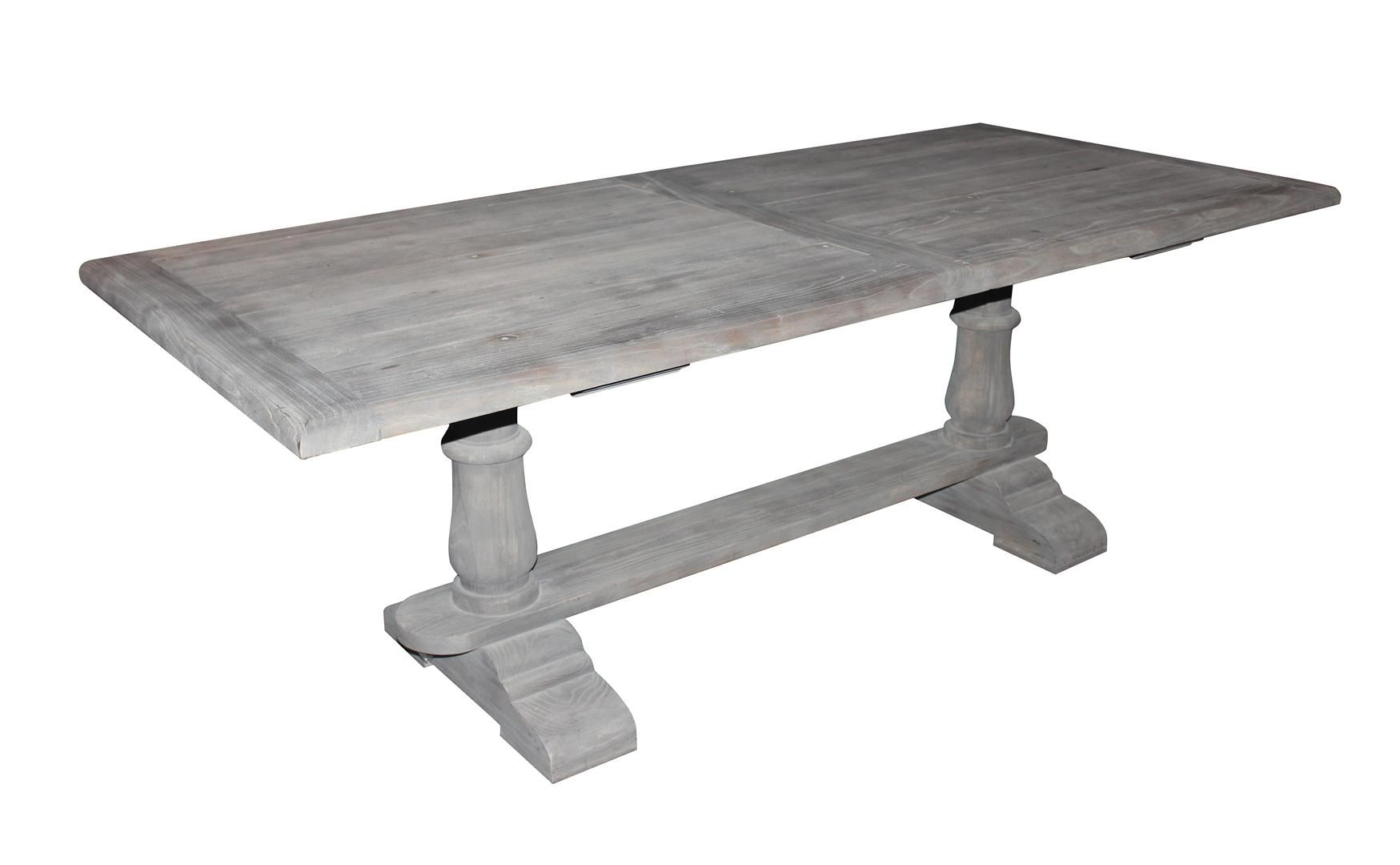Solid Wood Dining Table With Gray Washed Out Finish
