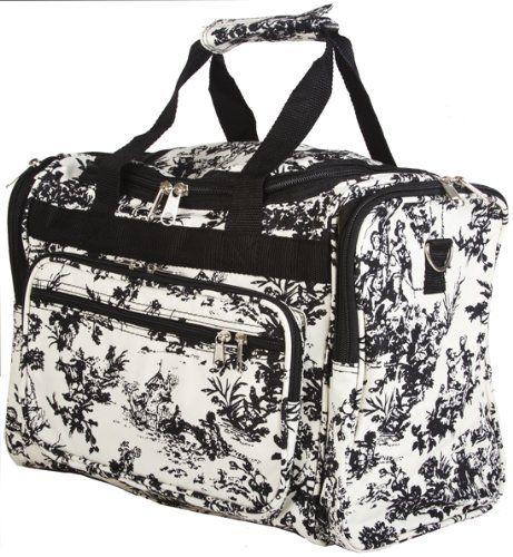 bee52e399078 Amazon.com: World Traveler Black Ivory Toile Duffle Bag 16-inch ...