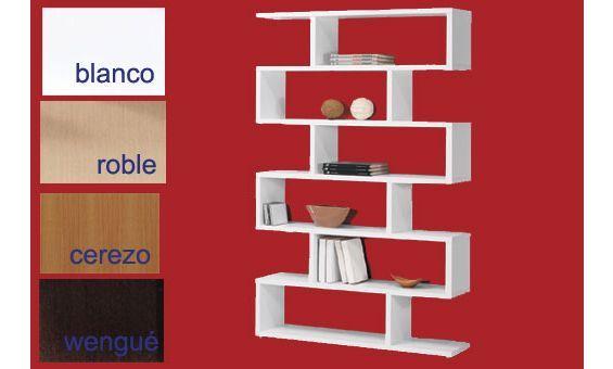 Estantería de diseño moderno medidas 110cm X 191cm. Disponible en cuatro fantásticos colores.