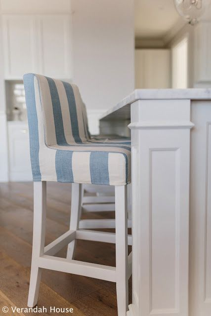Verandah House Interiors Love The Blue And White Striped Bar Stools