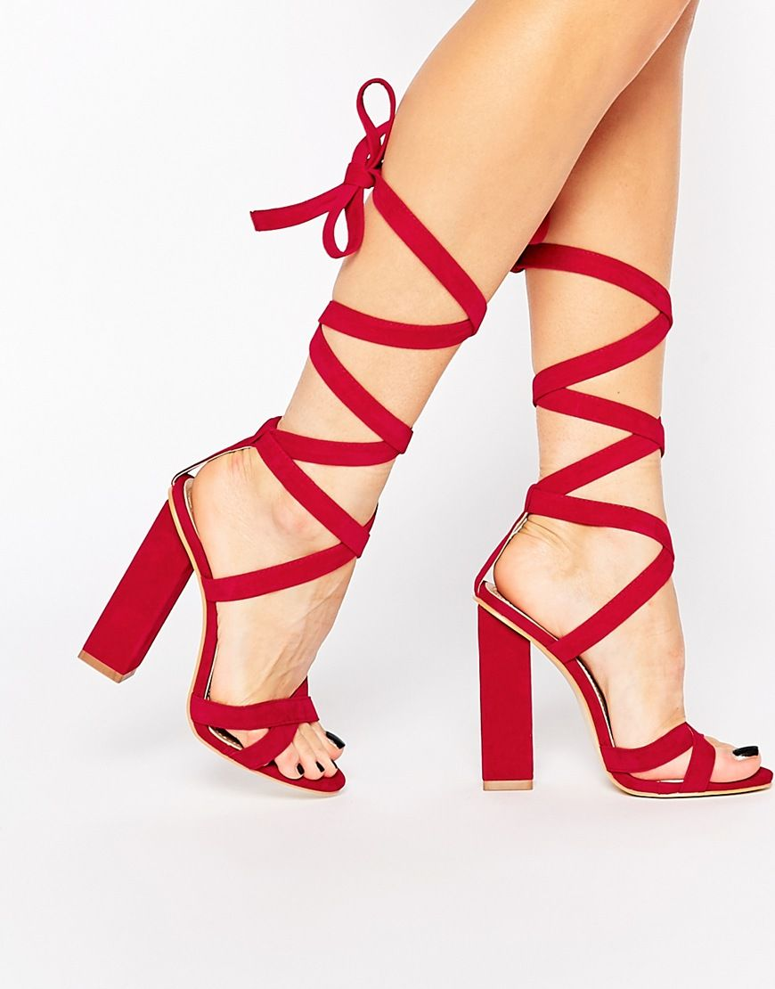 e367ff188244d Image 1 of Public Desire Mary Red Tie Up Block Heeled Sandals ...