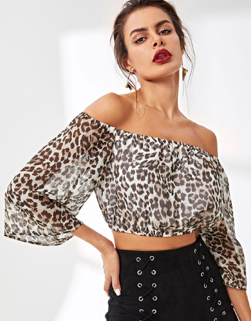 009fd50e5de1c Leopard Print Crop Bardot Top  leopard  croptop