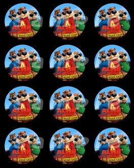 Alvin And The Chipmunks 2 5 Round Stickers Dj Birthday