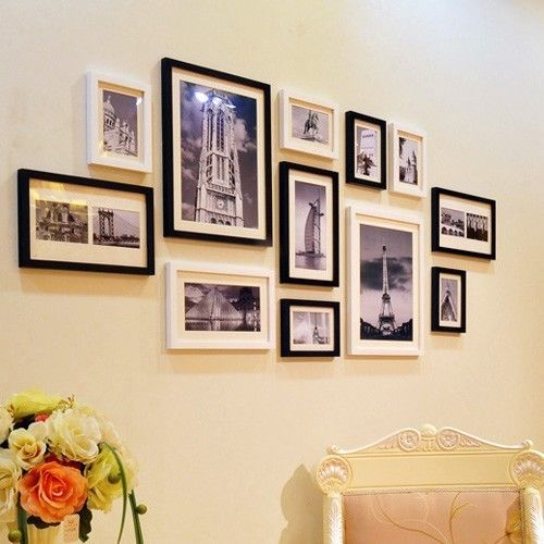 modern wooden photo picture frame wall collage set of 12 black white