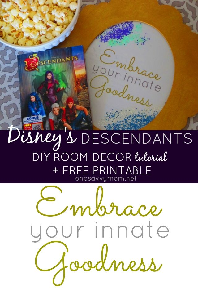 Disney S Descendants Diy Room Decor Tutorial Free Printable Disney Disneyvillains Villaindescen Disney Descendants Party Decor Tutorials Descendants Party