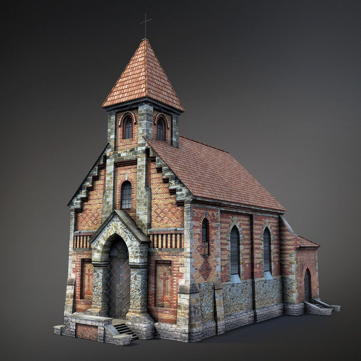 3d model of cathedral church achitecture