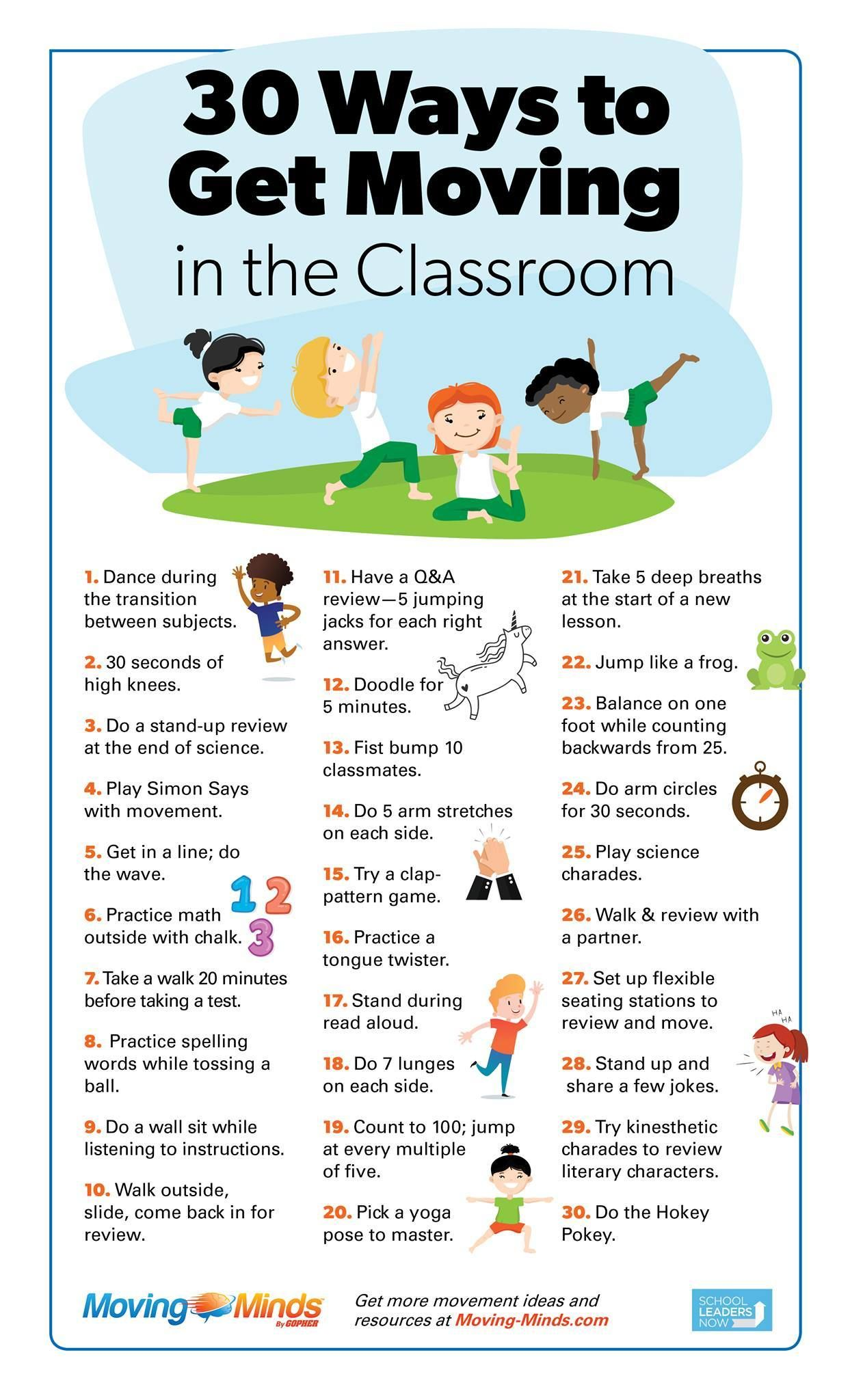 30 Ways To Get Moving In The Classroom
