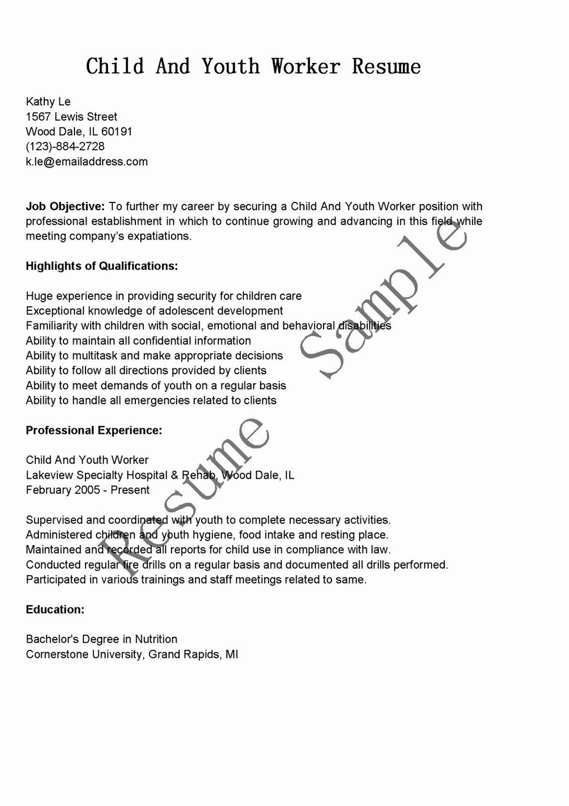 20 Child Care Worker Resume in 2020 Child care worker