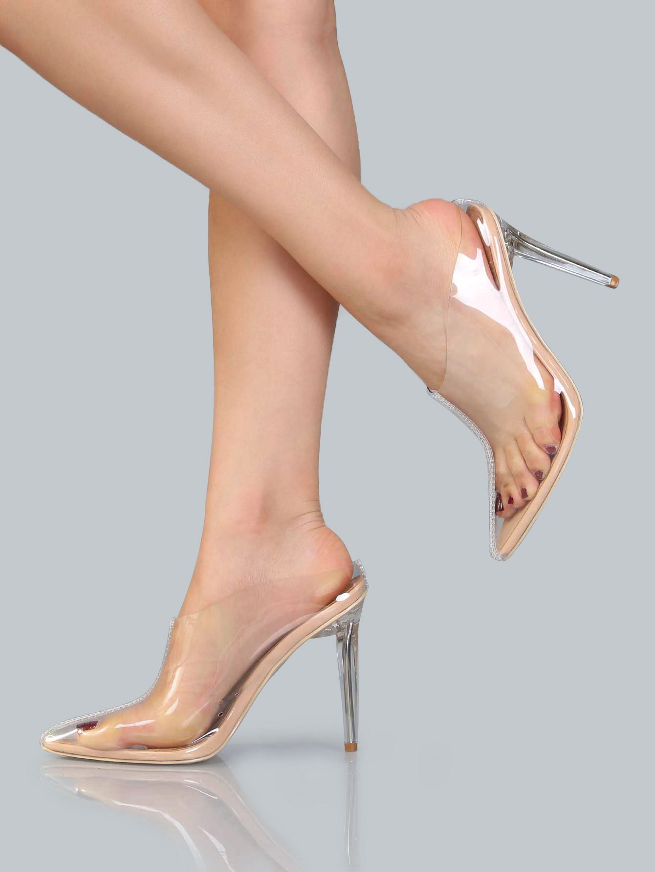 fc91f51cfe92d5 Shop Clear Pointed Stiletto Ankle Booties NUDE online. SheIn offers Clear  Pointed Stiletto Ankle Booties NUDE   more to fit your fashionable needs.