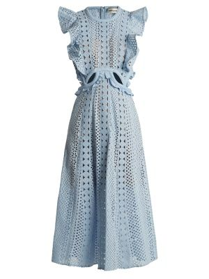 501ec935b79642 Ruffled cut-out broderie-anglaise cotton dress