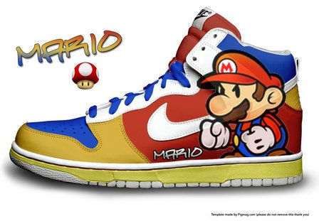 cartoon characters Nike, reebok , Adidas, sneakers | Home Cartoon Nike  Dunks Mario Bros